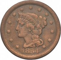 TOUGH   1854 BRAIDED HAIR LARGE CENT   US EARLY COPPER COIN