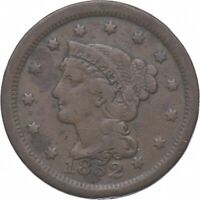 TOUGH   1852 BRAIDED HAIR LARGE CENT   US EARLY COPPER COIN