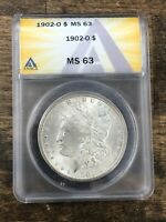 1902-O NEW ORLEANS MORGAN SILVER DOLLAR ANACS MINT STATE 63