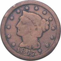 BETTER 1847 BRAIDED HAIR US LARGE CENT PENNY COIN COLLECTION