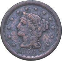 BETTER 1850 BRAIDED HAIR US LARGE CENT PENNY COIN COLLECTION