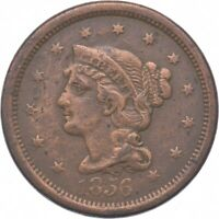 TOUGH   1856 BRAIDED HAIR LARGE CENT   US EARLY COPPER COIN