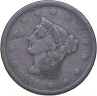 BETTER 1841 BRAIDED HAIR US LARGE CENT PENNY COIN COLLECTION