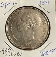 1875 .900 SPAIN 5 PESETAS NICE DETAILS THE PLANCHET OF THIS