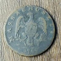 1787 CENT POST COLONIAL ISSUE MASSACHUSETTS VERY GOOD