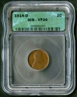 US COIN 1914 D VDB KEY DATE LINCOLN WHEAT CENT ICG VF20