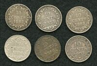 MIXED DATES NEW FOUNDLAND 10 CENT COINS LOT OF 6