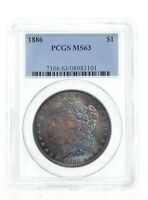 MINT STATE 63 1886 MORGAN SILVER DOLLAR - GRADED PCGS IRREDESCENT TONE 3992