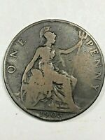 1903 GREAT BRITAIN ONE PENNY FOREIGN COIN 0771