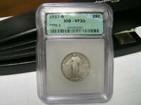 1917 S T 1 STANDING LIBERTY QUARTER GRADED VF 30 ICG