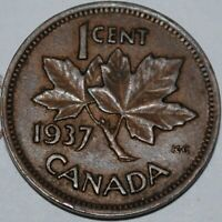 CANADA 1937 1 CENT COPPER COIN ONE CANADIAN PENNY