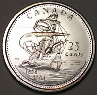 CANADA 2004 FIRST SETTLEMENT 25 CENTS NICE UNC FROM ROLL   BU CANADIAN QUARTER