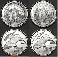 CANADA 2013 ARCTIC EXPEDITION AND SYMBOLS 4 COINS 25 CENTS BU CANADIAN QUARTERS