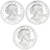 1979 1980 1981 S SUSAN B ANTHONY GEM PROOF DOLLAR RUN TYPE 1 CN CLAD 3 COIN SET