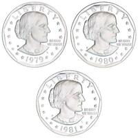 1979 1980 1981 S SUSAN B ANTHONY GEM PROOF DOLLAR RUN CN CLAD TYPE 1 US COIN SET