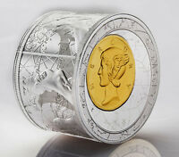 NIUE 2014 FORTUNA REDUX MERCURY 3D $25 3 OZ SILVER PROOF CYLINDER SHAPED COIN