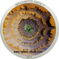2014 COOK ISLANDS MOLDAVITE IMPACT METEORITE COIN  CONCAVE $5 SILVER PROOF  BOX