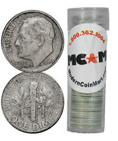 $5 FACE ROLL   50 COINS   90  SILVER ROOSEVELT DIMES AVG CIRCULATED SKU32669