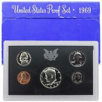 1969 S PROOF SET ORIGINAL BOX 40  SILVER KENNEDY WASHINGTON US MINT 5 COINS