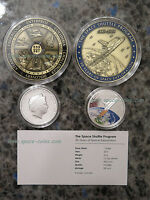 SPACE SHUTTLE MEDAL WITH VISIBLE FLOWN MATERIAL FROM ALL 6 SHUTTLE   COIN  SET