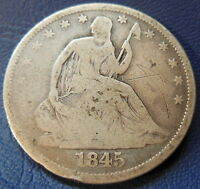 1845 O HALF DOLLAR SEATED LIBERTY GOOD VG REPUNCHED DATE RPD WB 108 6736