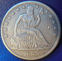 1859 S SEATED LIBERTY HALF DOLLAR EXTRA FINE TO AU BETTER DATE PIN HIT 10084