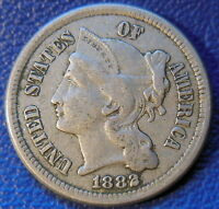 1882 THREE CENT NICKEL EXTRA FINE TO AU KEY DATE US COIN LOW MINTAGE 9280