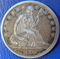 1840 SEATED LIBERTY HALF DOLLAR FINE TO EXTRA FINE COIN SMALL DATE 10600