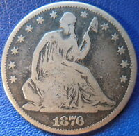 1876 CC SEATED LIBERTY HALF DOLLAR GOOD TO FINE US COIN SMALL CC 10261