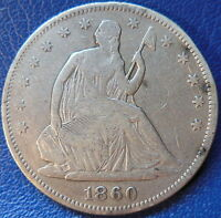 1860 SEATED LIBERTY HALF DOLLAR FINE F US COIN 10245