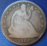 1860 SEATED LIBERTY HALF DOLLAR GOOD TO GOOD US COIN 10246