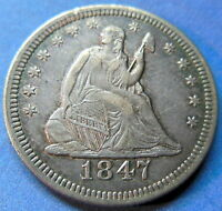 1847 SEATED LIBERTY QUARTER ABOUT UNCIRCULATED TO MINT STATE US COIN 5448