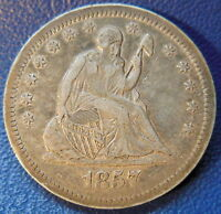 1857 O SEATED LIBERTY QUARTER EXTRA FINE XF FULL LIBERTY NEW ORLEANS COIN 8677