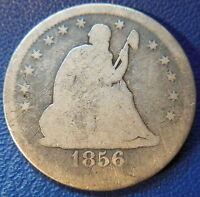 1856 S SEATED LIBERTY QUARTER GOOD G KEY DATE US COIN SAN FRANCISCO MINT 8672