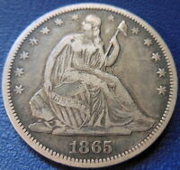 1865 S SEATED LIBERTY HALF DOLLAR FINE TO EXTRA FINE US COIN 7666