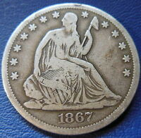 1867 S SEATED LIBERTY HALF DOLLAR FINE TO EXTRA FINE US COIN 7683