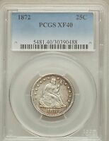 1872 SEATED LIBERTY QUARTER PCGS XF40