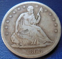 1868 S SEATED LIBERTY HALF DOLLAR FINE TO EXTRA FINE US COIN 50C 7687