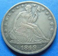 1849 O SEATED LIBERTY HALF DOLLAR ABOUT UNCIRCULATED / MS 3008