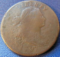 1797 DRAPED BUST LARGE CENT  GOOD VG CORRODED TOUGH DATE US COIN 10629