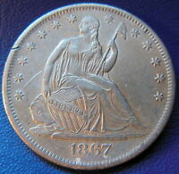 1867 S SEATED LIBERTY HALF DOLLAR ABOUT UNCIRCULATED TO MINT STATE US COIN 9560
