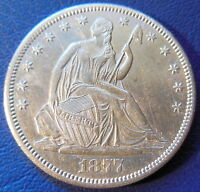1877 CC CARSON CITY SEATED LIBERTY HALF DOLLAR ABOUT UNCIRCULATED TO MS 8217