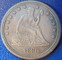 1880 SEATED LIBERTY QUARTER EXTRA FINE TO AU US COIN KEY DATE 10440