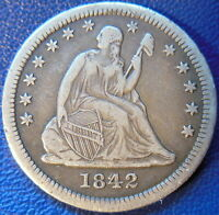 1842 O SEATED LIBERTY QUARTER FINE TO EXTRA FINE US COIN 10428