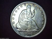 USA SILVER SEATED LIBERTY HALF DOLLAR COIN    1867 S