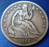 1861 S SEATED LIBERTY HALF DOLLAR FINE TO EXTRA FINE SAN FRANCISCO 8804