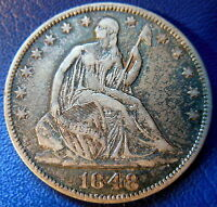 1848 O SEATED LIBERTY HALF DOLLAR EXTRA FINE XF NEW ORLEANS US COIN 8785
