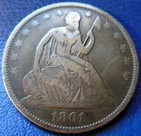 1861 O SEATED LIBERTY HALF DOLLAR FINE TO EXTRA FINE TONED US COIN 8800