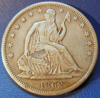 1862 S SEATED LIBERTY HALF DOLLAR EXTRA FINE TO ABOUT UNCIRCULATED US COIN 6971