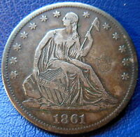 1861 S SEATED LIBERTY HALF DOLLAR FINE TO EXTRA FINE US COIN 8803